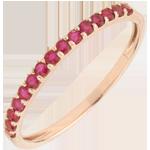Anillo Aves del Paraíso - un una fila - oro rosa y rubís