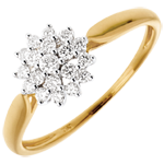 Anillo Calidoscopio - oro amarillo y blanco 18 quilates - 19 diamantes