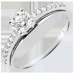 regalo mujer Anillo de compromiso - Avalón - diamante de 0.4 quilates - oro blanco de 9 quilates
