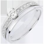 Anillo de compromiso Destino - Mi Reina - pequeño modelo - oro blanco - diamante 0.20 quilates
