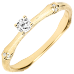 Anillo de compromiso jungla Sagrada - diamante 0,09 quilates - oro amarillo rugoso 18 quilates