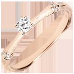 Anillo de compromiso jungla Sagrada - diamante 0,09 quilates - oro rosa rugoso 9 quilates