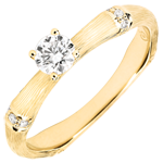 Anillo de compromiso jungla Sagrada - diamante 0,2 quilates - oro amarillo rugoso 18 quilates