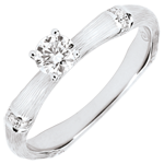 Anillo de compromiso jungla Sagrada - diamante 0,2 quilates - oro blanco rugoso 18 quilates