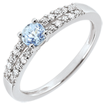 Anillo de compromiso Margot - aguamarina y diamantes 0.23 quilates - oro blanco 18 quilates