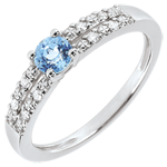 Anillo de compromiso Margot - oro blanco 18 quilates - topacio y diamantes