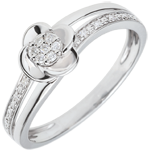regalo mujer Anillo de compromiso oro blanco Pétalos de Rosa - 0.075 quilates