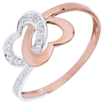 Anillo corazones unidos oro rosa oro blanco