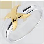 Anillo Cruz oro amarillo y oro blanco