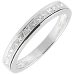 Anillo diamantes princesa engaste carril - 0.36 quilates