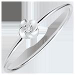 Anillo Eclosión - Primera rosa - modelo pequño - oro blanco y diamante - 18 quilates