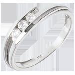 bodas Anillo espiral tres diamantes y oro blanco.- 3 diamantes - 0.16 quilates - 18 quilates