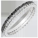 Anillo Flor de Sal - doble vuelta - 13 diamantes negros - oro blanco 9 quilates