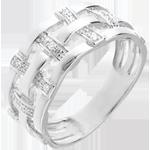 Anillo hilado oro blanco empedrado 18 quilates y diamantes