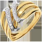 Anillo llave divina oro amarillo - 6 diamantes