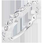 Anillo de Matrimonio Perlas rosas - oro blanco de 9 quilates y diamantes