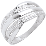 Anillo naja oro blanco empedrado diamantes - 4 diamantes