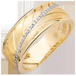 Anillo Palma - oro amarillo cepillado 9 quilates y diamantes