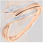 mujer Anillo Paseo Soñado - Serpiente Hechizante - oro rosa y diamantes - 18 quilates