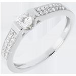 regalo mujer Anillo de Pedida Destino - Arco oro blanco empedrado - 0.31 quilates - 29 diamantes - 18 quilates
