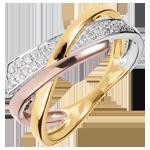 Anillo Pequeño Saturno modificado 2 - 3 oros 18 quilates y diamantes