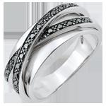 Anillo Saturno Espejo - oro blanco y diamantes negros - 23 diamantes - 18 quilates