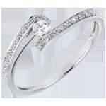 Anillo Solitario acompañado Nido Precioso - Promesa - oro blanco 9 quilates - diamante 0.08 quilates