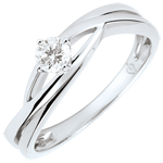 joya Anillo solitario Brillo Eterno - Dova - diamante de 0.15 quilates - oro blanco de 18 quilates