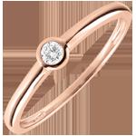 Anillo solitario Mi diamante - diamante 0.08 quilates - oro rosa 9 quilates