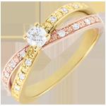 Anillo Solitario Saturno Dúo doble diamante - oro rosa y oro amarillo - 0.15 quilates - 18 quilates