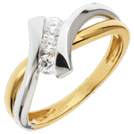 Anillo trilogía Brillo Eterno - Dolce Vita - oro amarillo y blanco - 0.22 quilate - 3 diamantes - 18 quilates