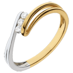Anillo trilogía Brillo Eterno- Escarcha - oro amarillo y blanco-3 diamamantes- 18 quilates.