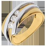 Anillo trilogía Brillo Eterno- Priscilla - oro amarillo y blanco- 0.31 quilates- 3 diamamantes- 18 quilates.