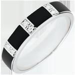Anneau Clair Obscur - laque noire et diamants - or blanc 18 carats