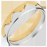 Anneau Couronne - or blanc et or jaune 18 carats
