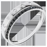 cadeau femme Anneau Féérie - Couronne d'Étoiles - petit modèle - diamants noirs - or blanc 18 carats