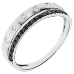 cadeau femme Anneau Féérie - Couronne d'Étoiles - petit modèle - diamants noirs
