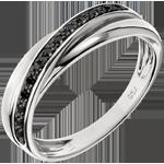 mariage Anneau Saturne Diamant - 13 diamants noirs et or blanc - 9 carats