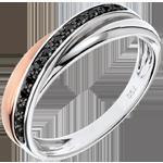 bijou Anneau Saturne Diamant - diamants noirs, or rose et or blanc - 9 carats