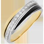 cadeaux femmes Anneau Saturne Diamant - laque noire et diamants - or blanc et or jaune 18 carats