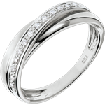 Anneau Saturne Diamant - or blanc 9 carats