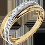 femme Anneau Saturne Diamant - or jaune et or blanc - 9 carats