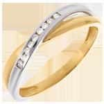 Anneau tandem serti diamants - 9 diamants - or blanc et or jaune 18 carats
