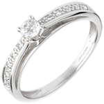 gold jewelry Arch with paved diamond set shoulders - white gold - 0.21 carat