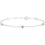 Geschenk Armband Blüte - Rosenkränzchen - Smaragd - Weißgold - 9 Karat