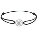 Geschenke Armband Fleur de Sel - Kranz - Weißgold - Schwarzes Band