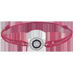 Armband Fleur de Sel - Kranz - Weißgold und schwarze Diamanten - Rotes Band
