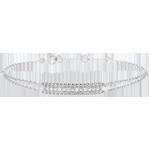 Geschenk Frauen Armband Fleur de Sel - Zwei Ringe - Weißgold - 18 Karat