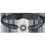 Koop Online Armband Gezouten Bloem - Cirkel - wit goud en zwarte diamanten - zwart snoer