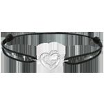 Hochzeit Armband Herzen, besetzt mit Weissgold und Diamanten - schwarze Kette